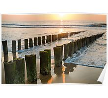 Breakwaters on the beach at sunset in Domburg Holland Poster