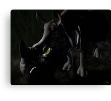 Rhino in the dark with green eye Canvas Print