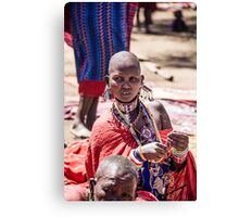 Masai woman adorned with jewellery Canvas Print