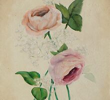 Peach, Pink & Gypsophila #2 Floral Painting by Jewel  Charsley