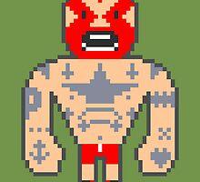 Pixel Luchador - Inked by Oleg Milshtein