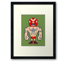 Pixel Luchador - Inked Framed Print