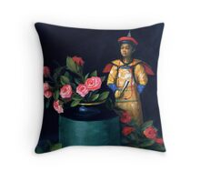 Chinese Figure with Roses Throw Pillow