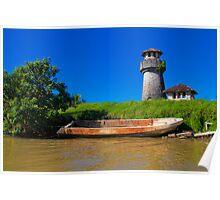 Guatemala. Atlantic Coast. Lighthouse and Boat. Poster