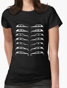 Silhouette Volkswagen VW Golf Mk1-Mk7 Left and Right White Womens Fitted T-Shirt