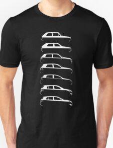 Silhouette Volkswagen VW Golf Mk1-Mk7 Right White Unisex T-Shirt