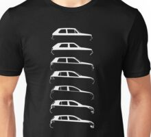Silhouette Volkswagen VW Golf Mk1-Mk7 Right White Unisex T-Shirt