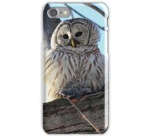 Adorable Barred Owl With Prey iPhone Case/Skin