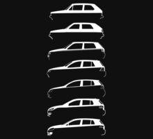 Silhouette Volkswagen VW Golf Mk1-Mk7 Left White by reujken