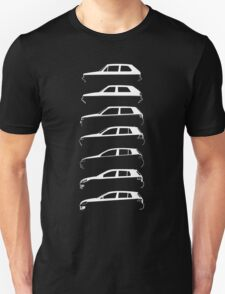 Silhouette Volkswagen VW Golf Mk1-Mk7 Left White T-Shirt