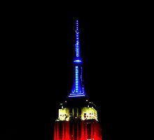 Red White and Blue Empire State Building by cammisacam