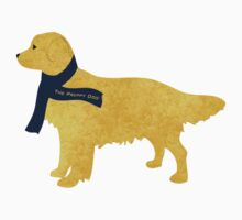 Preppy Golden Retriever - Navy Winter Scarf One Piece - Short Sleeve