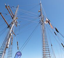 Twin Masts of 'One & All' training sailing, Port Adelaide. S.A. by Rita Blom