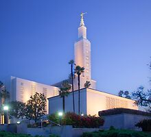 Los Angeles California Temple - South Corner Early Light by Ken Fortie