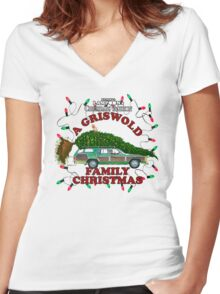 National Lampoon's Christmas Vacation Squirrel Christmas Tree Women's Fitted V-Neck T-Shirt