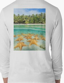 tropical shore split with sea stars underwater Long Sleeve T-Shirt
