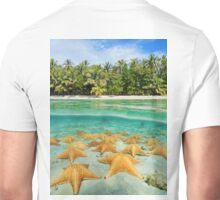 tropical shore split with sea stars underwater Unisex T-Shirt