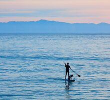Stand Up Paddle Surfing In Santa Barbara Bay California by Ram Vasudev