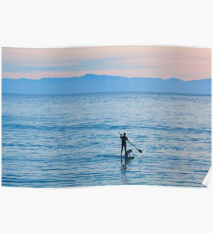 Stand Up Paddle Surfing In Santa Barbara Bay California Poster