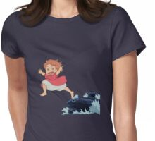 Ponyo storm sea leap  Womens Fitted T-Shirt
