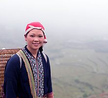 Sapa, Rice Paddies and local girl, Vietnam by paulsborrett