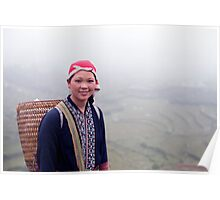 Sapa, Rice Paddies and local girl, Vietnam Poster