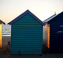 3 birds, 3 huts, 3 swimmers, Brighton, Melbourne, Victoria, Australia by paulsborrett