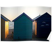 3 birds, 3 huts, 3 swimmers, Brighton, Melbourne, Victoria, Australia Poster
