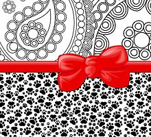 Dog Paws, Traces, Paisley - Ribbon and Bow - White Black Red by sitnica