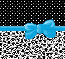 Dog Paws, Traces, Polka Dots - Ribbon, Bow - White Black Blue by sitnica