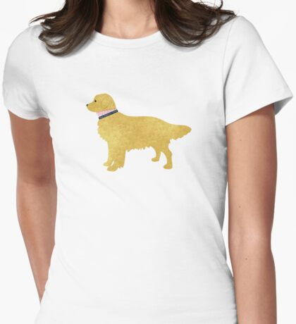 Preppy Golden Retriever Womens Fitted T-Shirt