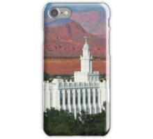 St. George Utah Temple - Red Mountains 20x16 iPhone Case/Skin