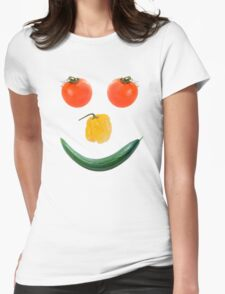 Smiley salad face Womens Fitted T-Shirt
