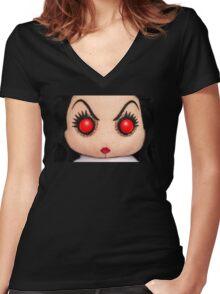 Evil Rag Doll Women's Fitted V-Neck T-Shirt