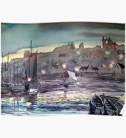 Whitby Harbour at Twilight Poster