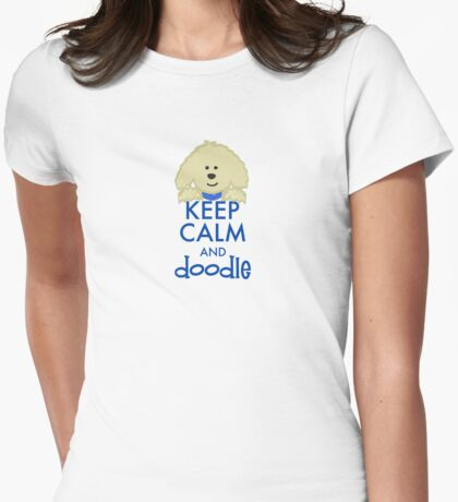 Keep Calm and Doodle - Goldendoodle Womens Fitted T-Shirt