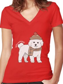 Bichon Freezing! Women's Fitted V-Neck T-Shirt