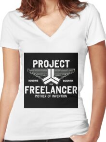 Red vs Blue Project Freelancer Women's Fitted V-Neck T-Shirt
