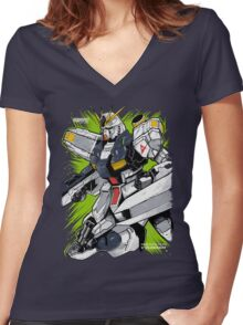 Nu Gundam Women's Fitted V-Neck T-Shirt