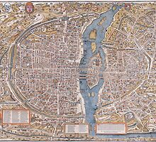 MEDIEVAL PARIS MAP c. 1555 by Daniel-Hagerman