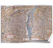 MEDIEVAL PARIS MAP c. 1555 Poster