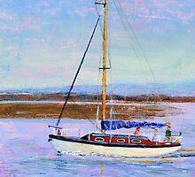 Boat Returning to Moor, Burnham Estuary. by Antony R James