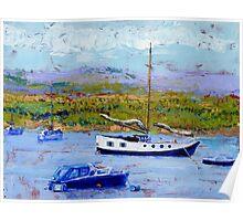 Bright Sunshine, Boats on the Estuary. Poster