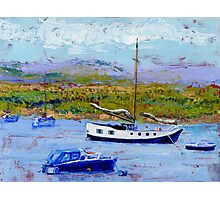 Bright Sunshine, Boats on the Estuary. Photographic Print
