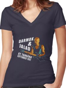 Darmok & Jalad at Tanagra ST TnG (Dark ONLY) Women's Fitted V-Neck T-Shirt