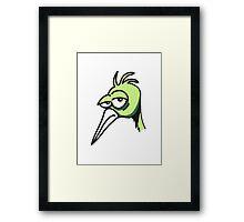 funny bird head sad cool comic Framed Print
