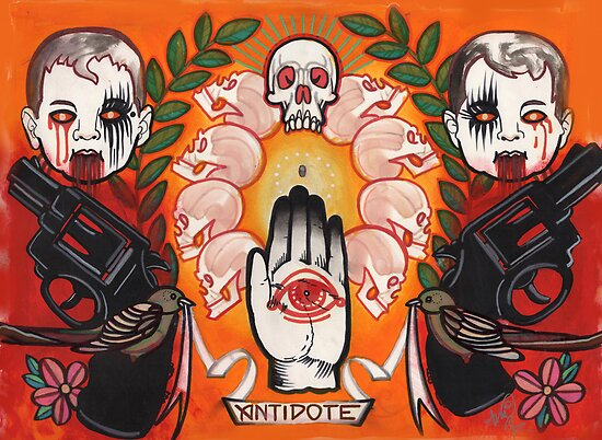 antidote, tattoo flash, guns, evil babies and skulls by resonanteye