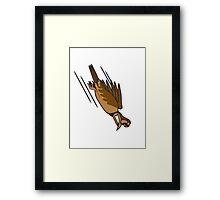 funny bird crash cool funny comic Framed Print