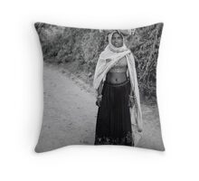 Woman gathering Firewood, Ranthambore, India Throw Pillow