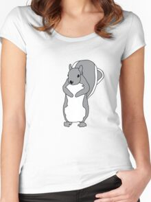 Cartoon Squirrel Women's Fitted Scoop T-Shirt